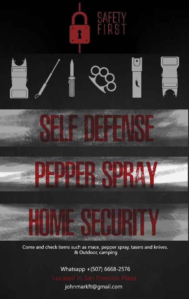 Safety First single page ad. Your store for home security and self defence.